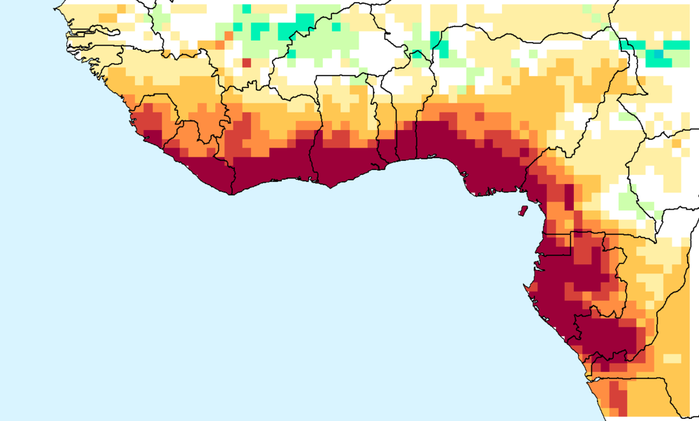 Composite water anomaly index   map for July through December 2015.