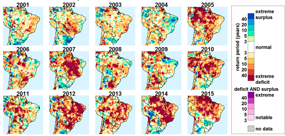 Composite Water Anomalies for Brazil (2001-2015) 2015 completed with forecasts