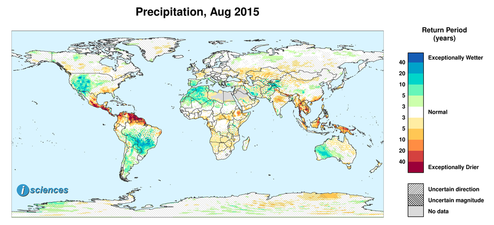 Precipitation outlook for August 2015. Reds indicate below normal monthly total precipitation. Blues indicate above normal monthly total precipitation. The darker the color, the more extreme the anomaly relative to a 1950-2009 climatic baseline. Colors are based on the expected return period of the anomalies.