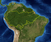 Amazon Basin delineated by WWF. Satellite image NASA.