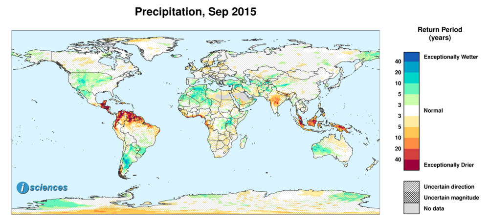 Precipitation outlook for September 2015. Reds indicate below normal monthly total precipitation. Blues indicate above normal monthly total precipitation. The darker the color, the more extreme the anomaly relative to a 1950-2009 climatic baseline. Colors are based on the expected return period of the anomalies.