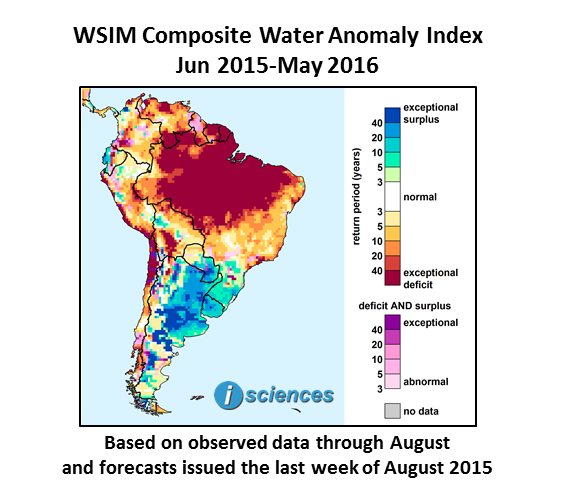 South America Exceptional Water Deficits Forecast For Northern - Argentina drought map