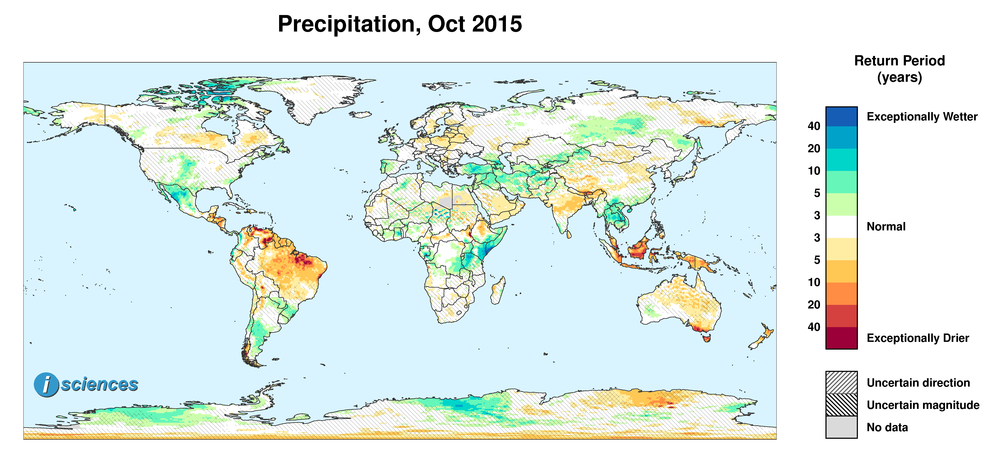 Precipitation outlook for October 2015. Reds indicate below normal monthly total precipitation. Blues indicate above normal monthly total precipitation. The darker the color, the more extreme the anomaly relative to a 1950-2009 climatic baseline. Colors are based on the expected return period of the anomalies.
