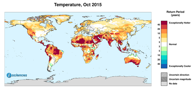 Global Precipitation Temperature Outlook For October 2015 Isciences