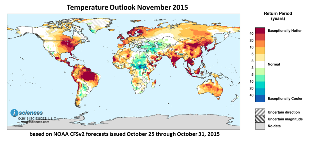 Temperature outlook for November 2015. Reds indicate above normal monthly average temperature. Blues indicate below normal monthly average temperature. The darker the color, the more extreme the anomaly relative to a 1950-2009 climatic baseline. Colors are based on the expected return period of the anomalies.