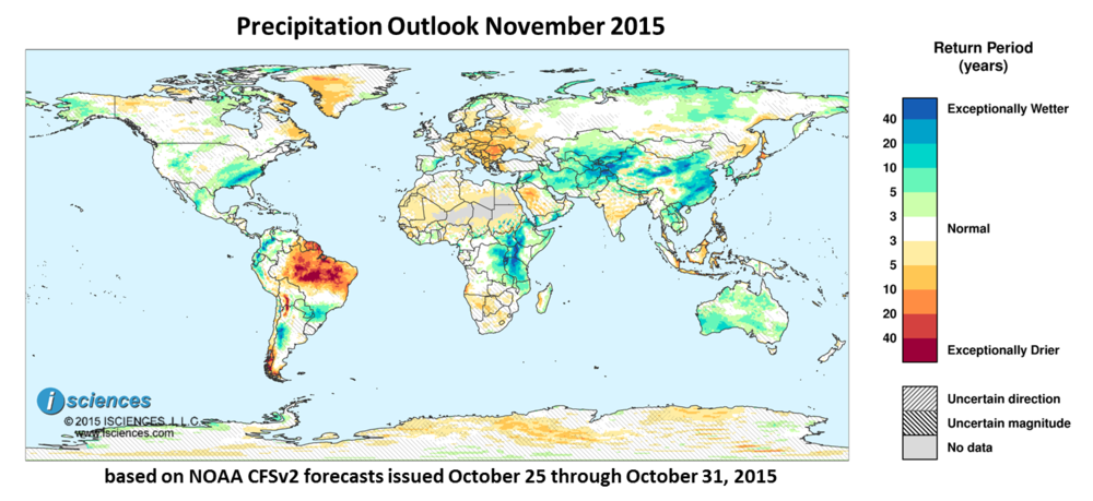 Precipitation outlook for November 2015. Reds indicate below normal monthly total precipitation. Blues indicate above normal monthly total precipitation. The darker the color, the more extreme the anomaly relative to a 1950-2009 climatic baseline. Colors are based on the expected return period of the anomalies.
