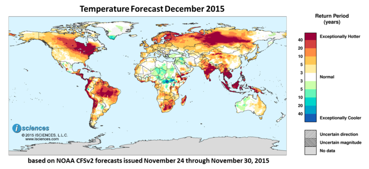 Global Precipitation Temperature Outlook For December 2015 Isciences