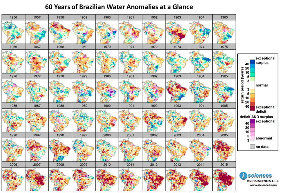 "Figure 2. Surface water anomalies in Amazonia region from 1956 to 2015.  Expressed as ""return period"" of expected frequency of occurrence."