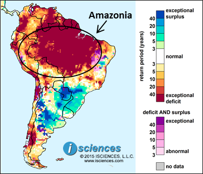 Figure 1. WSIM Composite Water Anomaly Index (Nov 2015-Oct 2016).  Exceptional water deficits predicted based on NOAA observed data through Jan 2016 and forecasts issued on the last week of Jan 2016. Exceptional water deficits (red) predicted in Amazonia.