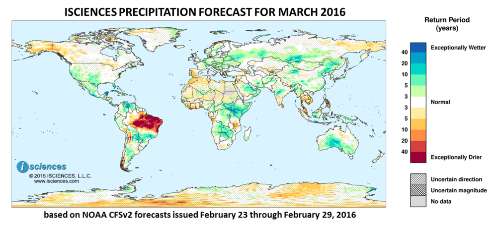 Precipitation outlook for March 2016. Reds indicate below normal monthly total precipitation. Blues indicate above normal monthly total precipitation. The darker the color, the more extreme the anomaly relative to a 1950-2009 climatic baseline. Colors are based on the expected return period of the anomalies.