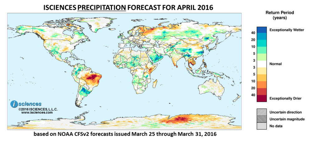 Precipitation outlook for April 2016. Reds indicate below normal monthly total precipitation. Blues indicate above normal monthly total precipitation. The darker the color, the more extreme the anomaly relative to a 1950-2009 climatic baseline. Colors are based on the expected return period of the anomalies.