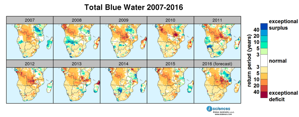 Figure         SEQ Figure \* ARABIC     4      . Total blue water (flow accumulated runoff) anomalies for the past decade in southern Africa.