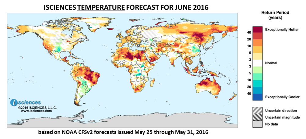 Temperature outlook for June 2016. Reds indicate above normal monthly average temperature. Blues indicate below normal monthly average temperature. The darker the color, the more extreme the anomaly relative to a 1950-2009 climatic baseline. Colors are based on the expected return period of the anomalies.