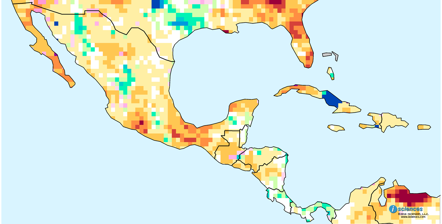 Mexico Central America the Caribbean Water deficits forecast in