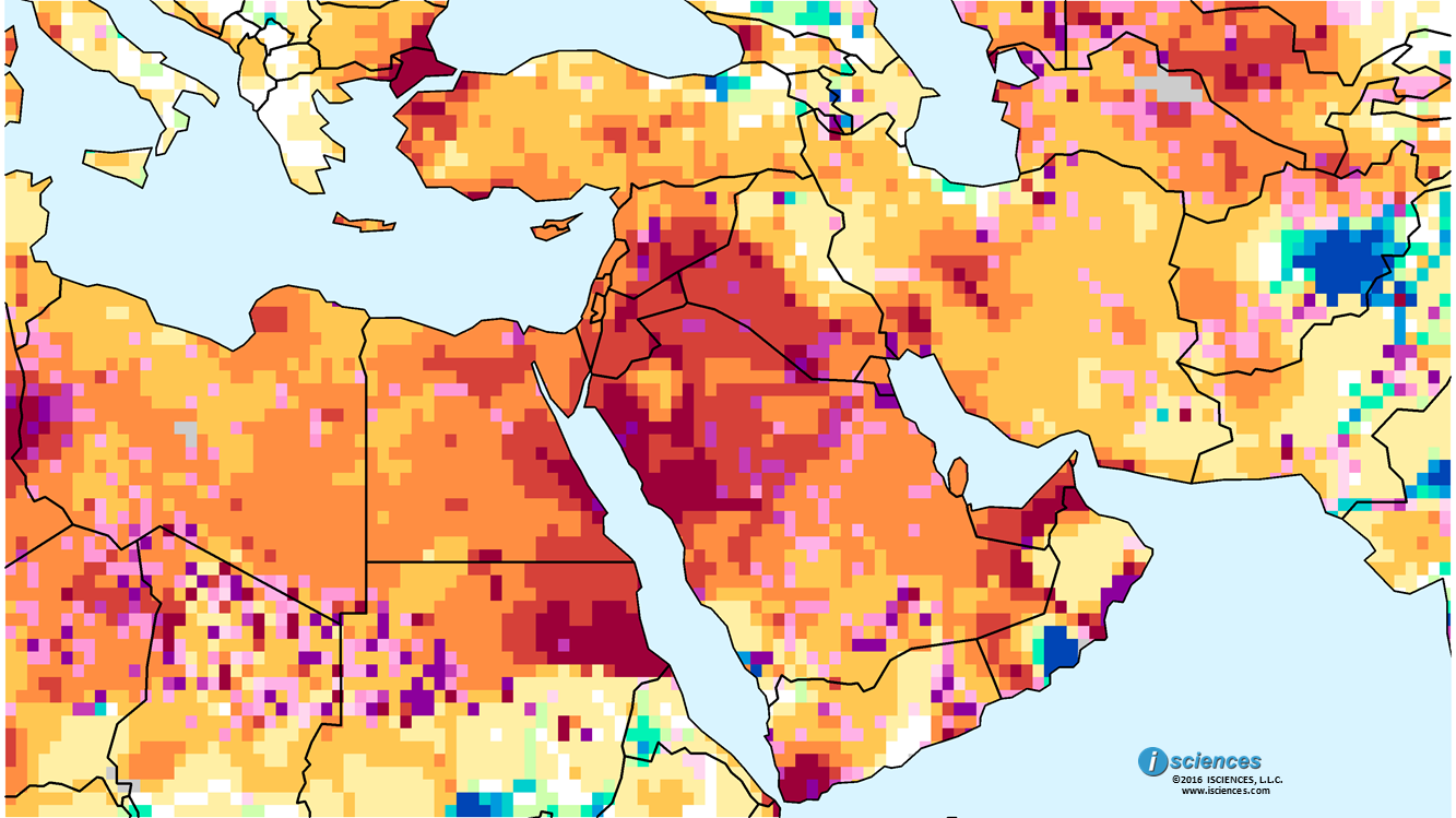 Middle East Water deficits persist esp Syria Iraq west of