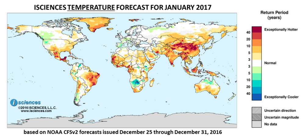 Global Precipitation Temperature Outlook For January 2017 Isciences