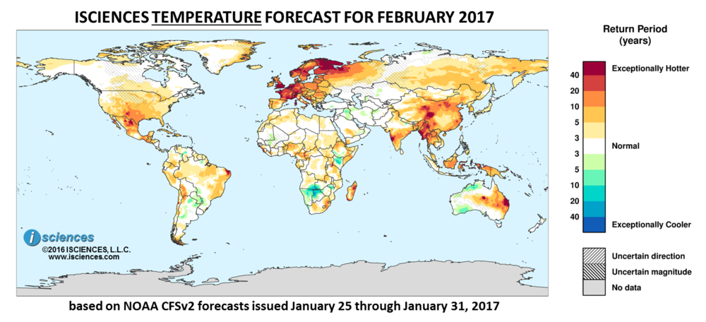 Temperature outlook. Reds indicate above normal monthly average temperature. Blues indicate below normal monthly average temperature.The darker the color, the more extreme the anomaly relative to a 1950-2009 climatic baseline. Colors are based on the expected return period of the anomalies.
