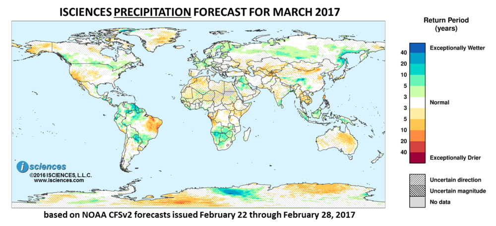 Precipitation outlook. Reds indicate below normal monthly total precipitation. Blues indicate above normal monthly total precipitation. The darker the color, the more extreme the anomaly relative to a 1950-2009 climatic baseline. Colors are based on the expected return period of the anomalies.