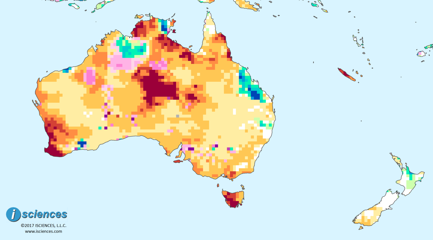 Australia New Zealand Water Deficits Persist In Darwin - Map of australia and new zeland