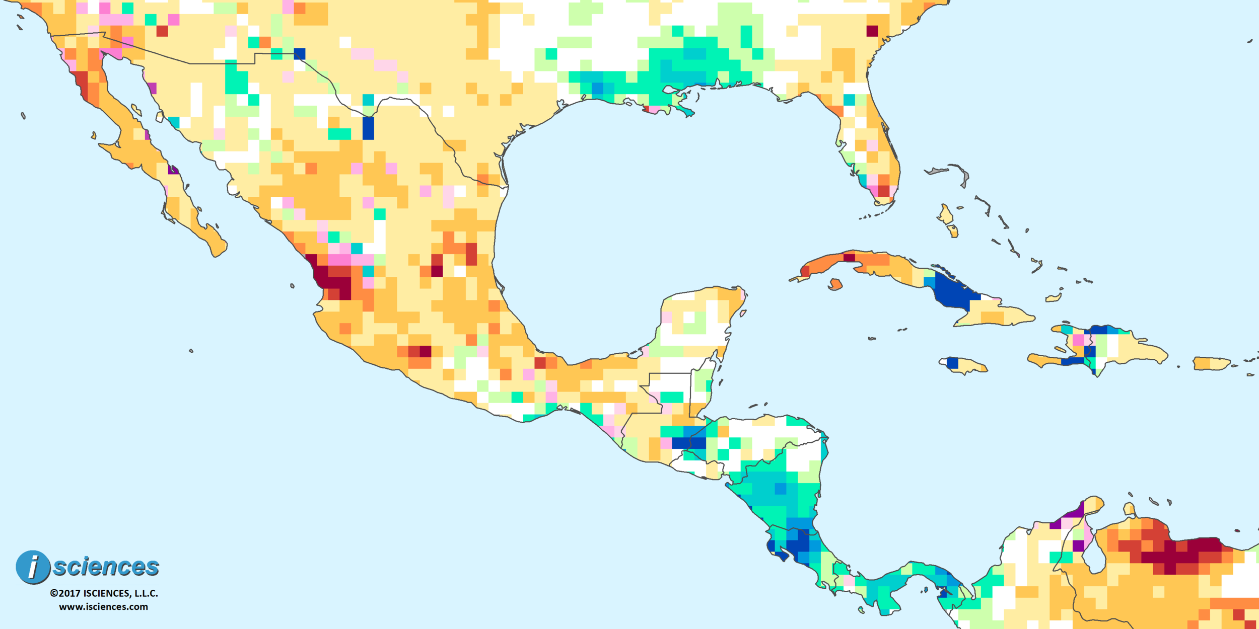 Mexico Central America the Caribbean Severe water deficits