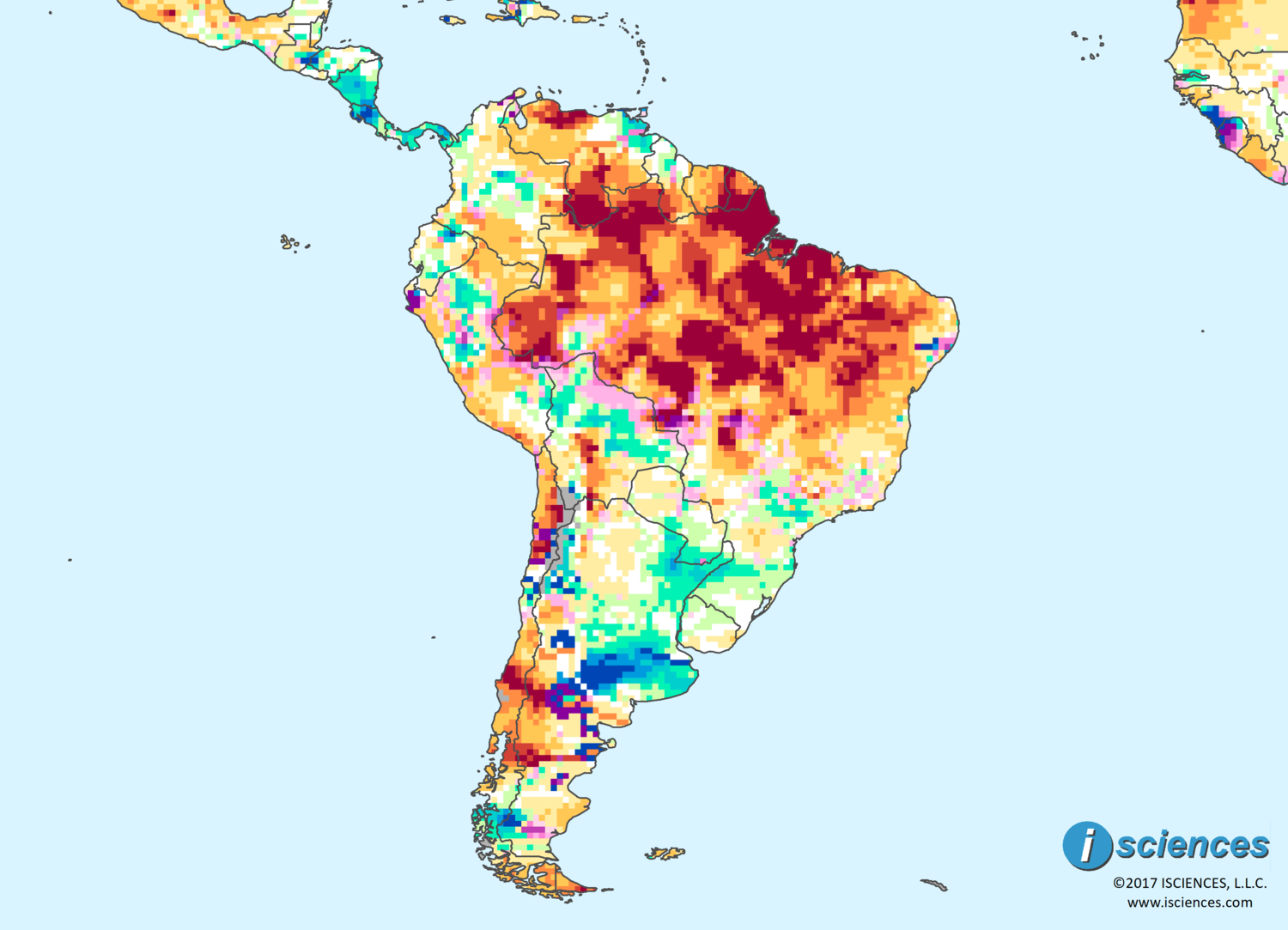Map Of South America 2017.South America Widespread Intense Water Deficits In Much Of Brazil