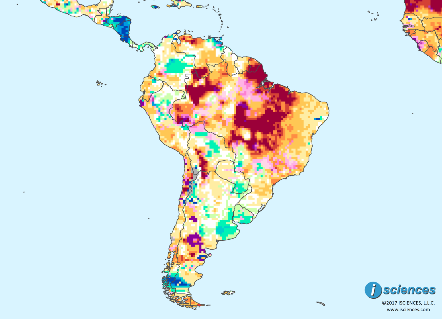 Map Of South America 2017.South America Water Deficits Forecast To Diminish Considerably But