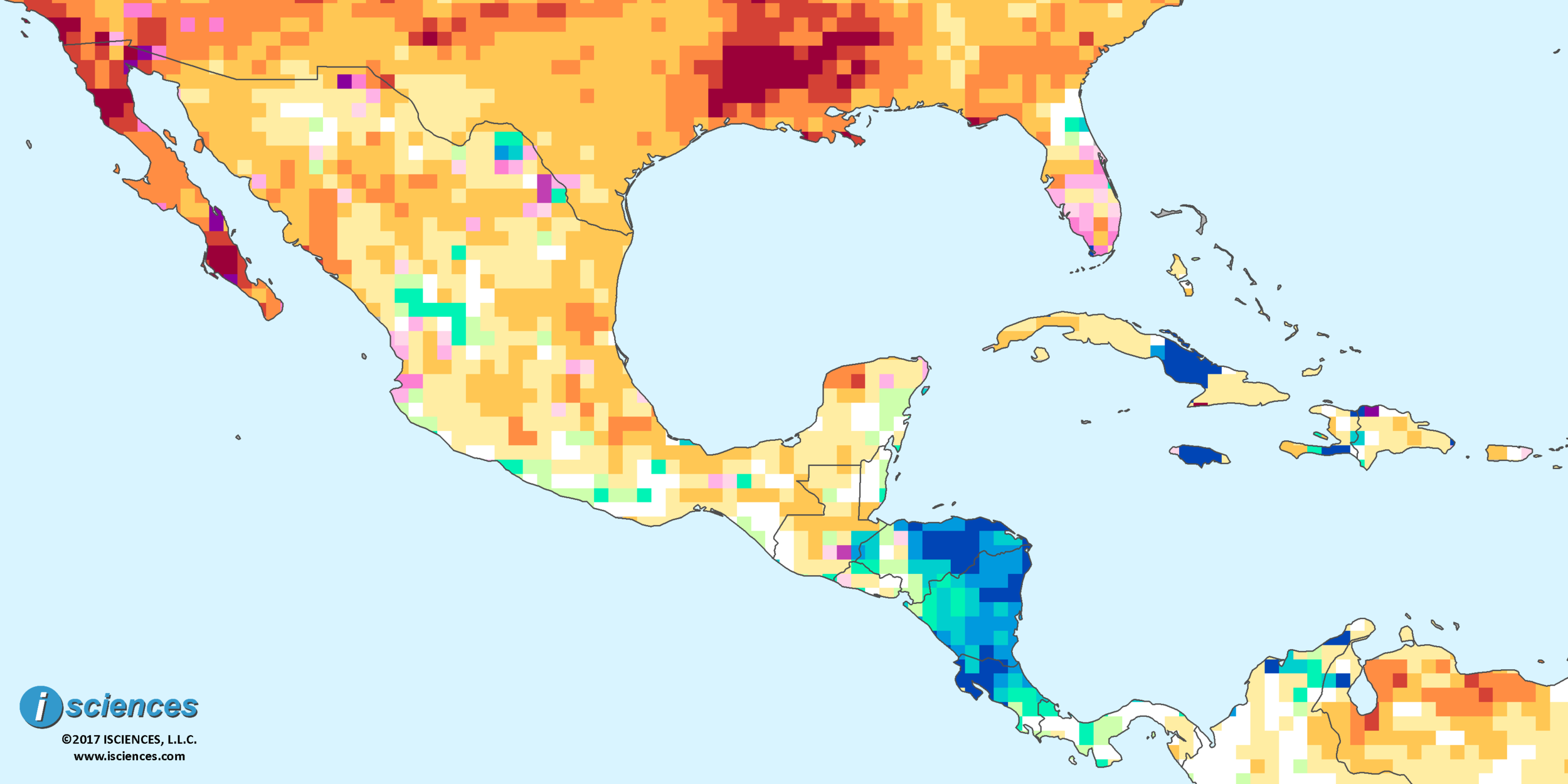 Mexico Central America the Caribbean Water deficits forecast