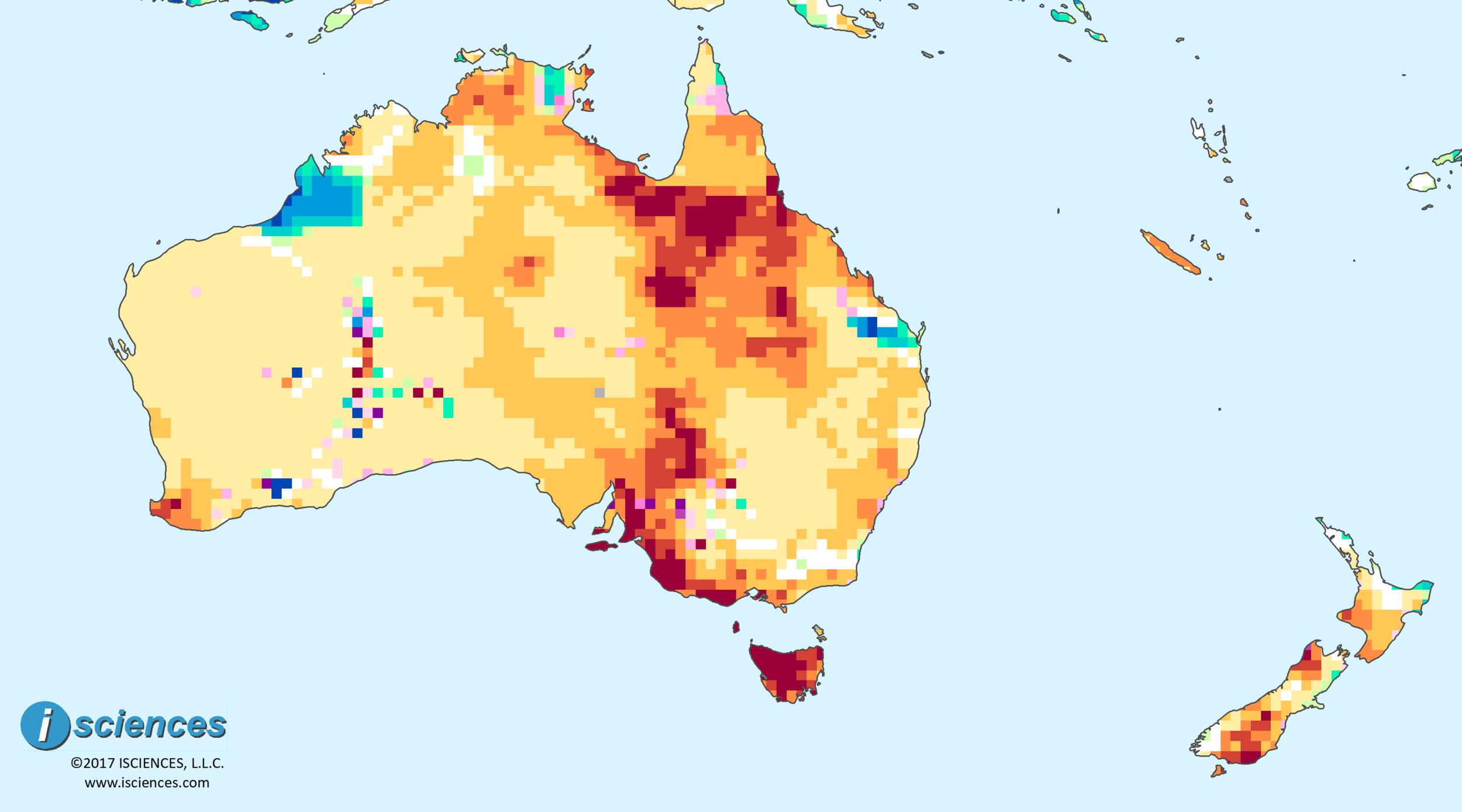 Australia & New Zealand: Intense water deficits persist in