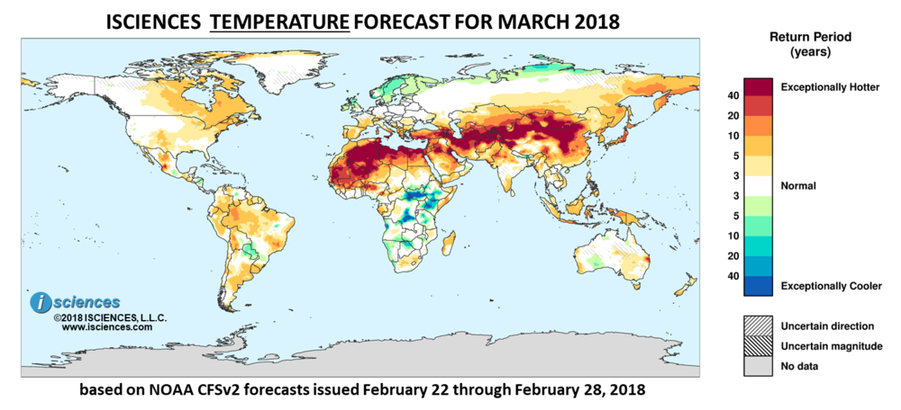 Global precipitation temperature outlook march 2018 isciences temperature outlook reds indicate above normal monthly average temperature blues indicate below normal monthly publicscrutiny