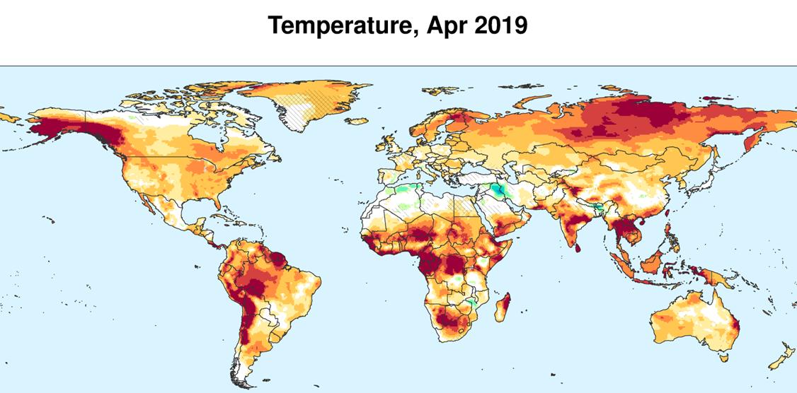 temperature around the world map Global Precipitation Temperature Outlook April 2019 Isciences