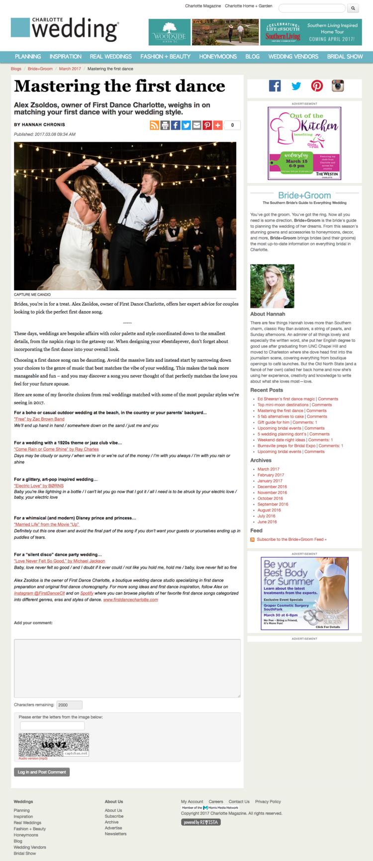 Wedding Dance Style Song First Charlotte Alex Zsoldos