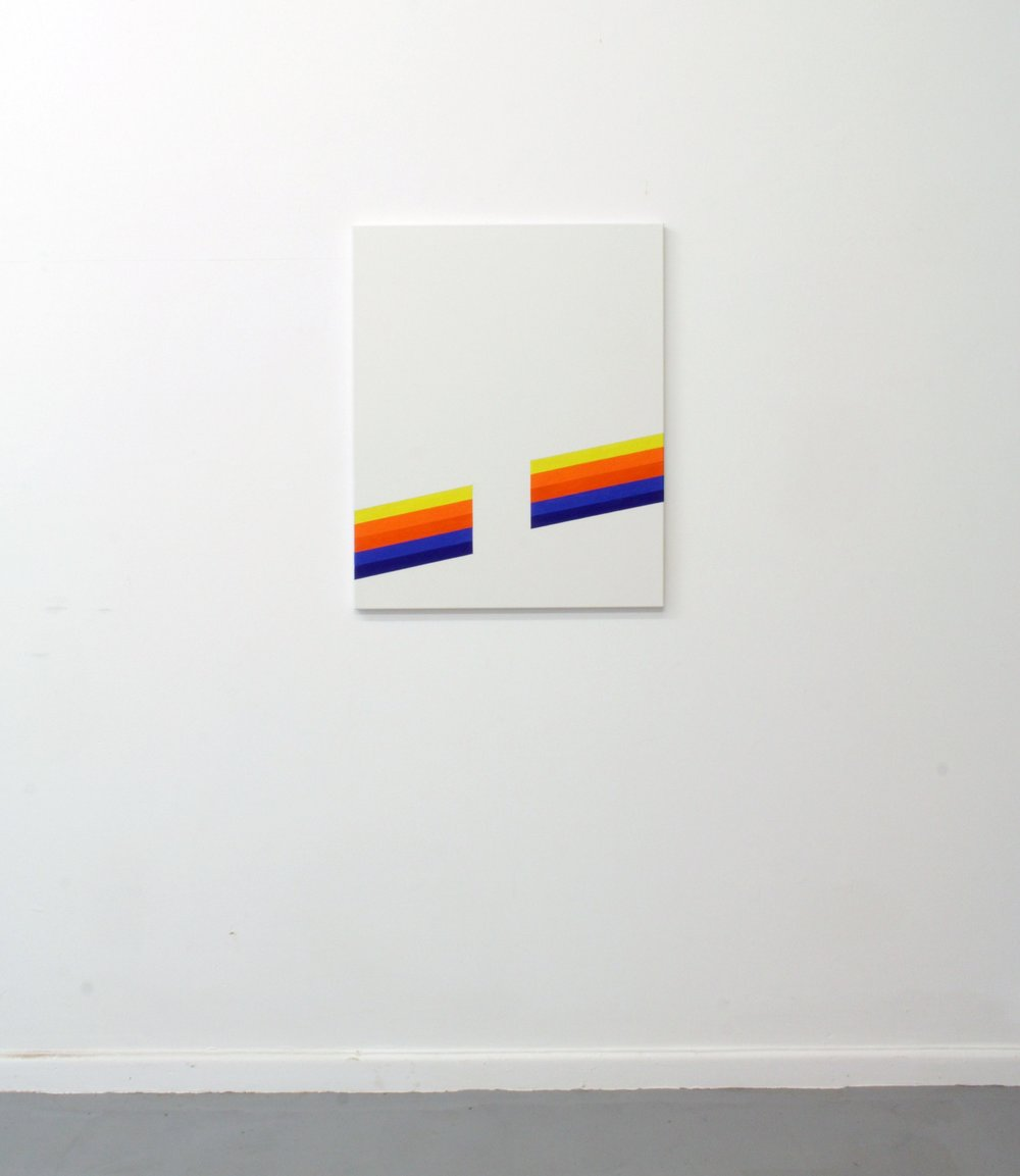 Yellow, Orange and Blue (Stripes)  Oil on linen  63 x 78 cm  2017