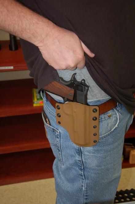 Side holster on hip