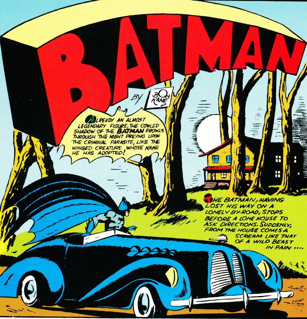 Batman's earliest Batmobile was a normal roadster-- sometimes blue, sometimes red.