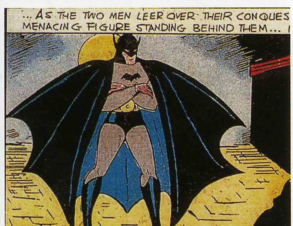The very first time we see Batman in comics is in this panel inside Detective Comics #27.
