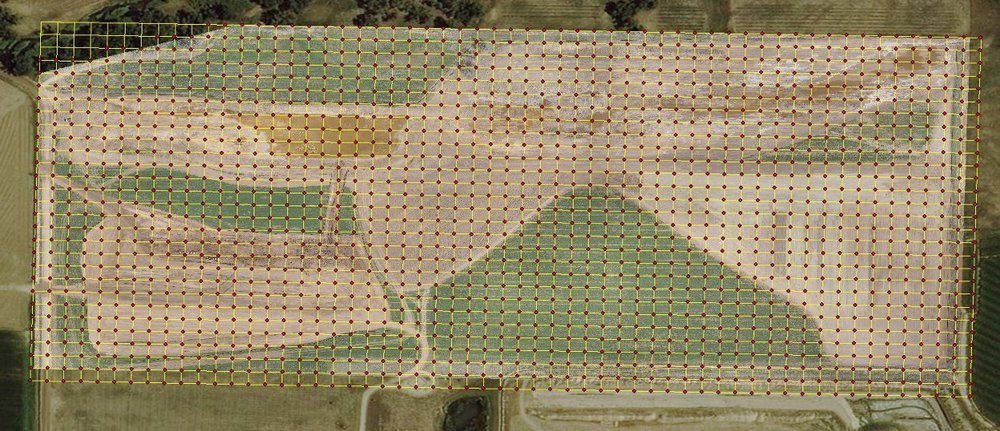 85 acre land area. GPS shots taken every 50ft. 1,632 total shots. ~80 hours