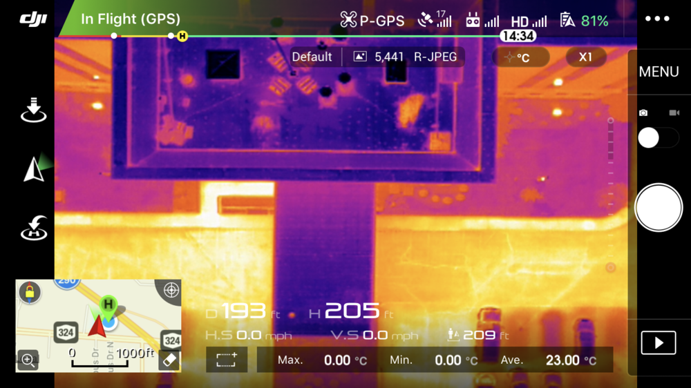 A UAS Pilot dashboard provides a real time live feed of thermal and visual data to a ground station controller. EagleHawk pilots use this information to complete their analysis and make in field decisions when piloting a UAS.