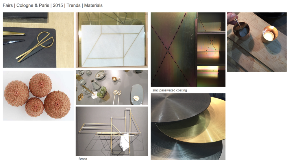 Lots of brass and copper, used in conjunction with ceramics, leather, cork and timber. More zinc passivated sheet and hot dipped galvanised finishes.