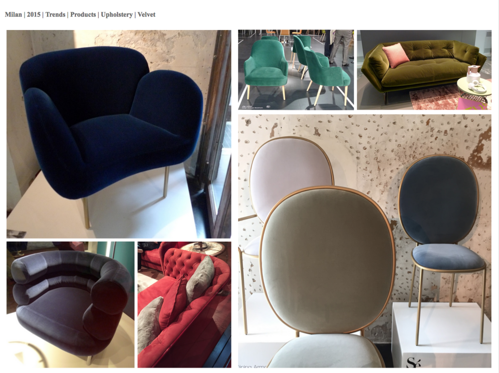 "Velvet - used in subtle tones to emphasise the curve and surface of an upholstered piece. I totally love the jewellery-like quality of the ""Stay Dinging Chair' by Se."