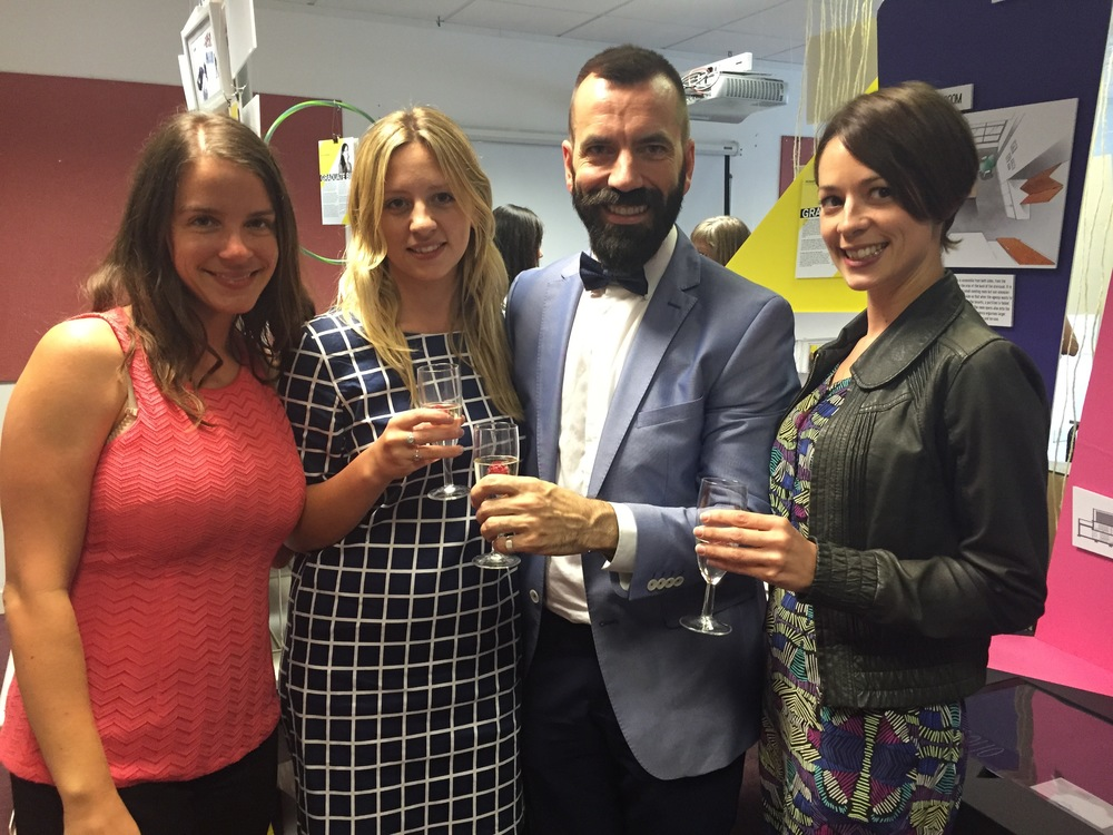 Madeleine Rasmussen, Laura Hart  Philippe Bougué and Kirsty Whyte enjoying a celebratory glass of bubbles by Philippes work
