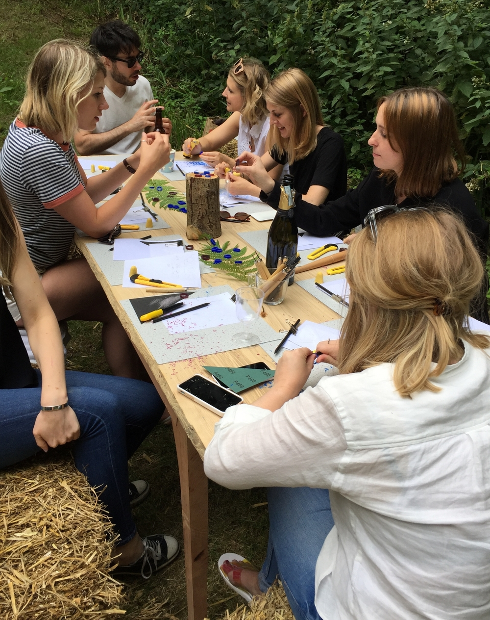 Workbench in the woods with Kirstie MacLaren and Katie Woodward; some serious concentration faces