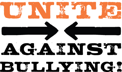 Image text Unite Against Bullying in Orange and Black with two arrows point toward each other