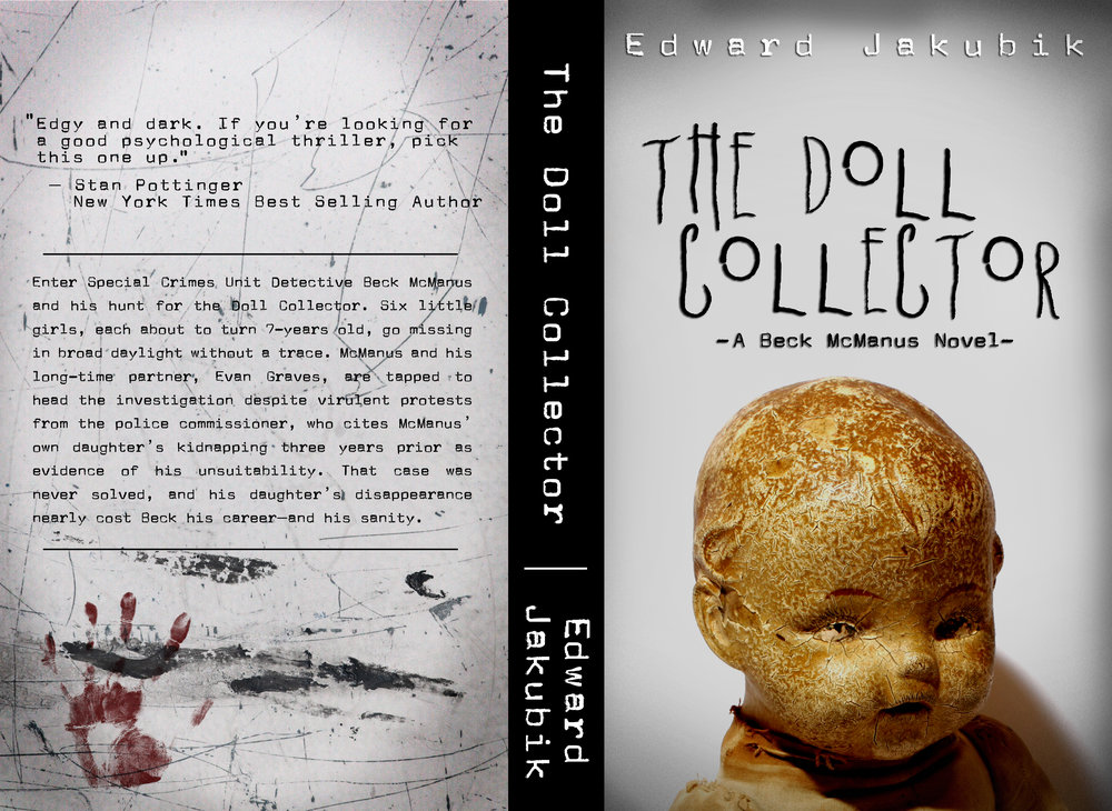 Book Cover design for crime/thriller novel, The Doll Collector.