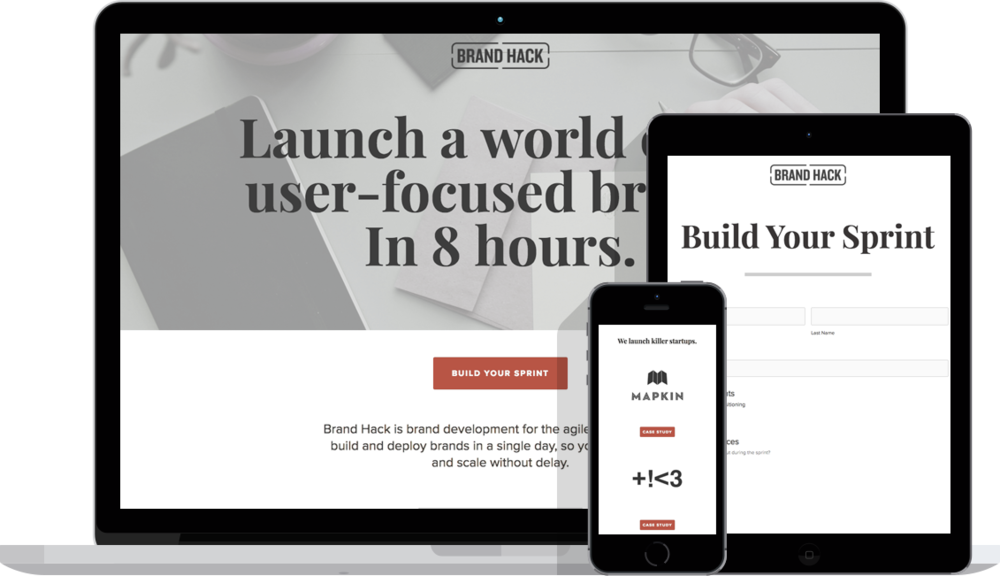 Brand Hack's website lets startups design their own branding sprint