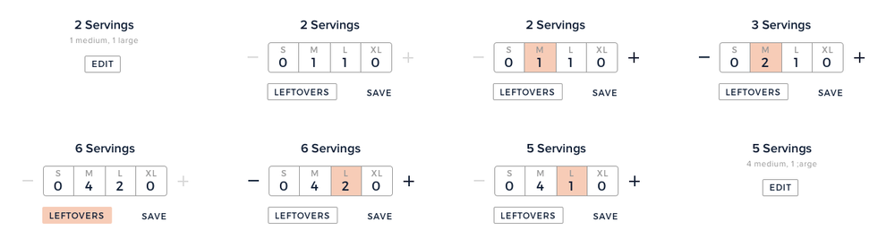 An initial step-by-step flow showing the serving size array in use