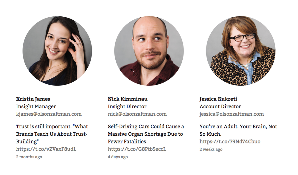"A snapshot of the website's ""Team"" page, displaying every team member's most recent tweet"