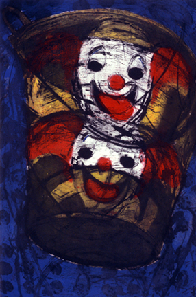 "Bozo Buckets, 36 x 24"", Etching and Collagraph,   1999"