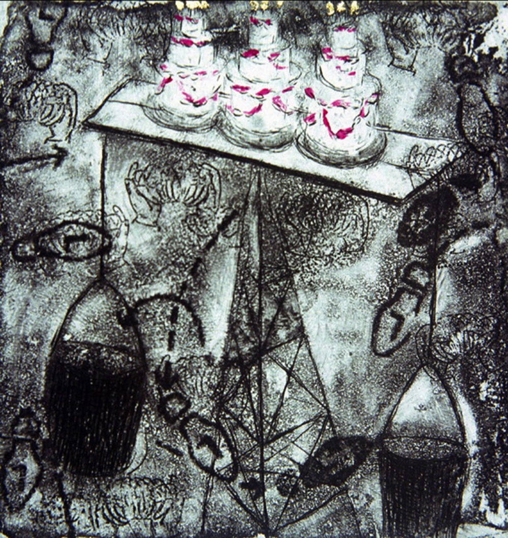 "You Are Not Looking at Me, 5 x 5"", Intaglio and Gold Leaf, 2008"