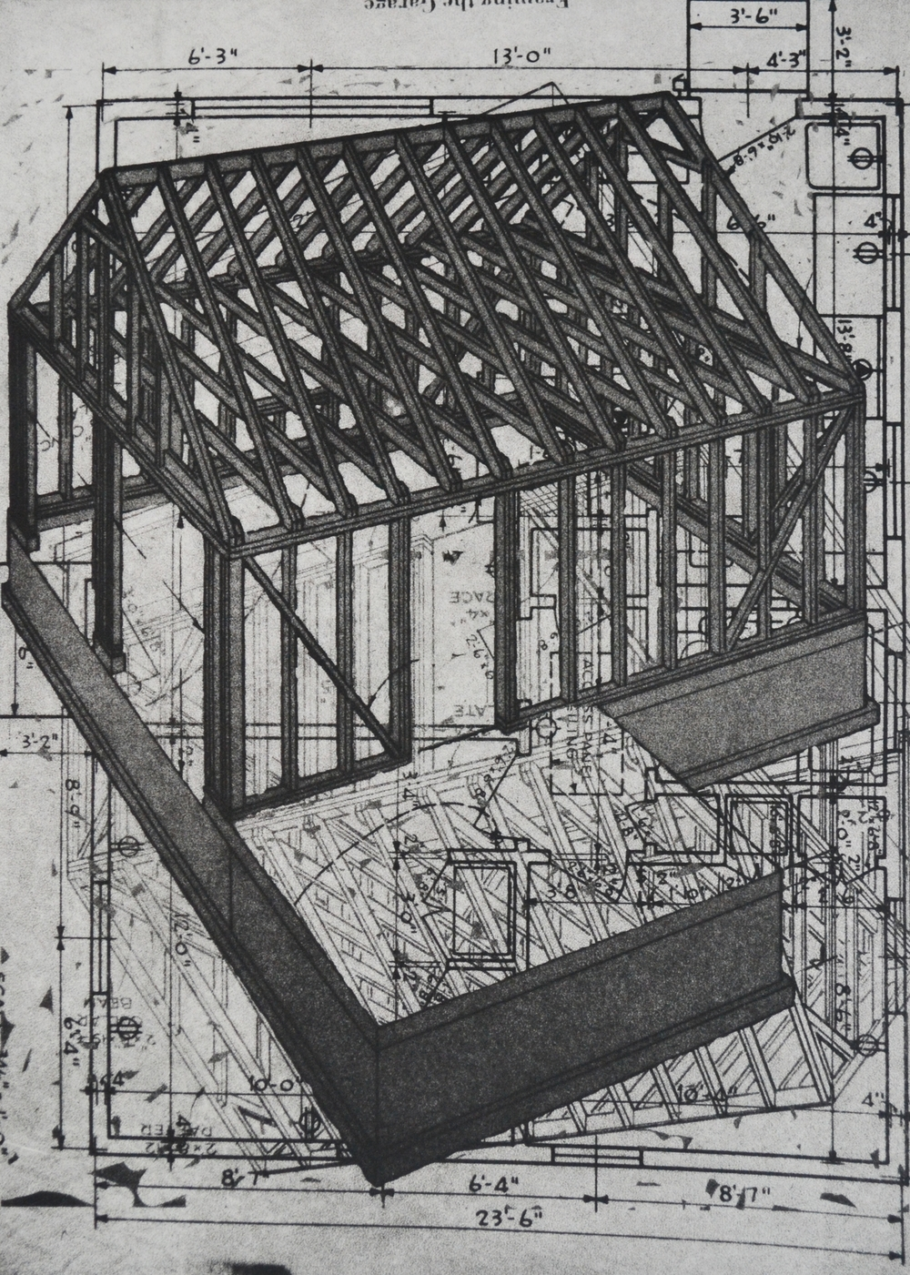 "Framing the Garage, 14 x 9.75"", polymer plate, 2014"