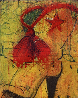 "Square Dance Lilly, 5.75 x 4.25"", Etching / Collagraph, 2004"